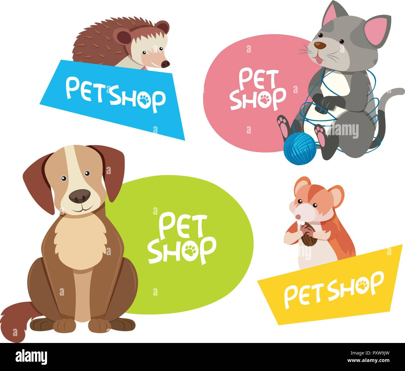 Sticker Design For Different Types Of Pets Illustration Stock Vector Image Art Alamy