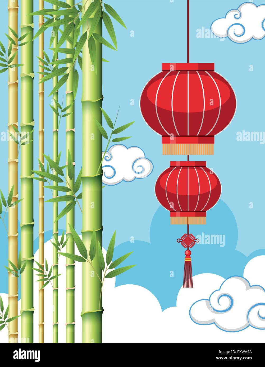 background template with chinese lantern and bamboo illustration