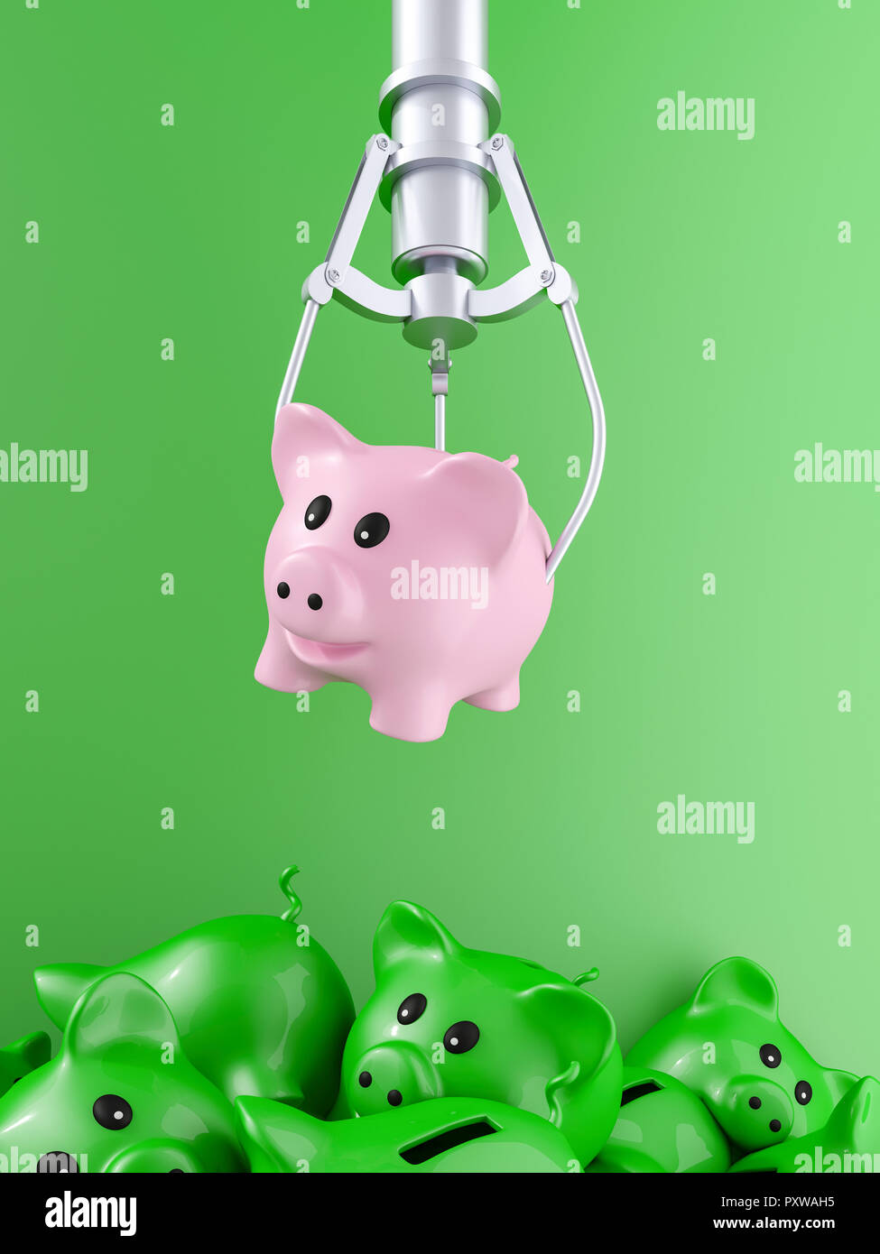 3D rendering, Pink piggy bank hovering over pile of discarded pigs - Stock Image