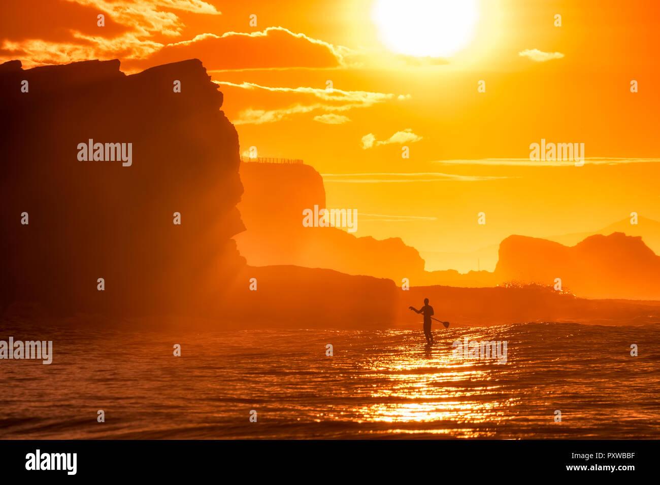UK, Scotland, East Lothian, Water Sport, Paddle Board Surfing, sunset - Stock Image