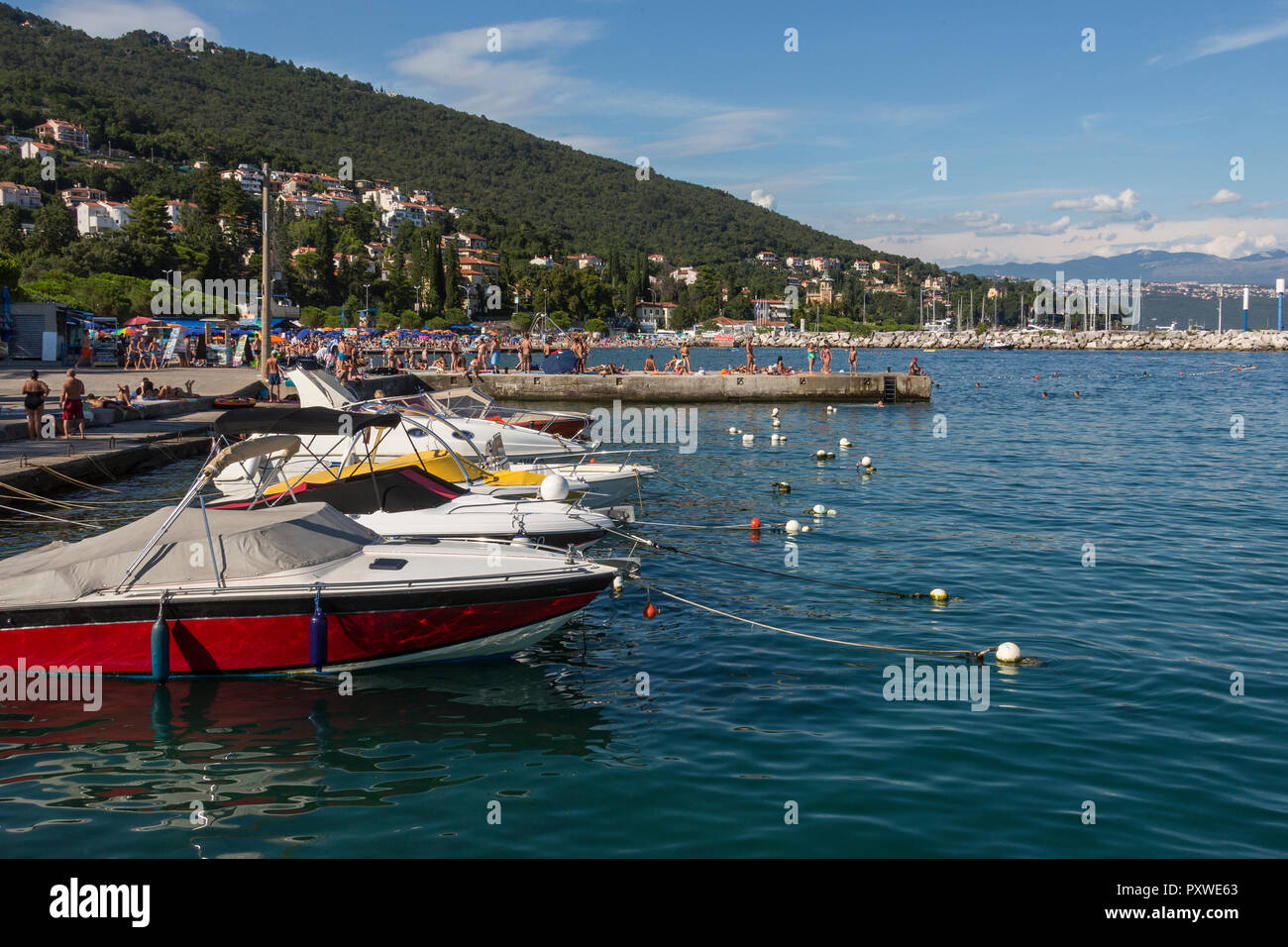 The resort of Icici on the Istria Peninsula on northwest Croatia. It is popular tourist resort on the Opatija Riviera. (Also known as Jicici). Stock Photo