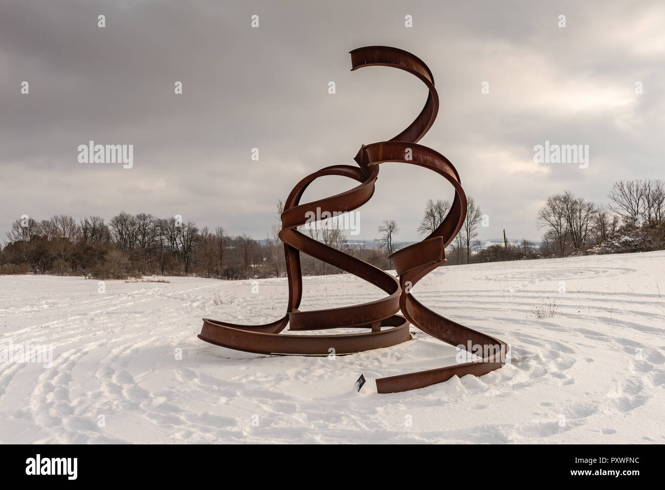Dancer, by Carole Eisner, at at the Stone Quarry Hill Art Park in the town of Cazenovia in Madison County in Central New York. Stock Photo