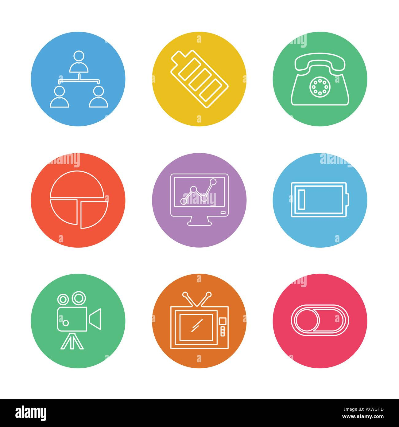 network , battery ,telephone  ,low battery , button , toggle , pie chart , camcoder ,graph , tv, icon, vector, design,  flat,  collection, style, crea - Stock Image