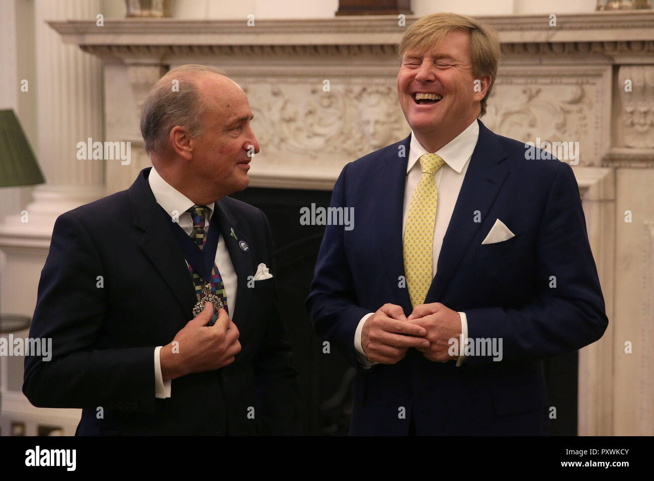 King Willem-Alexander of the Netherlands talks with the Lord Mayor of London Charles Bowman during the UK-Netherlands Innovation Showcase at Mansion House in London on the second day of his State Visit to the UK. - Stock Image