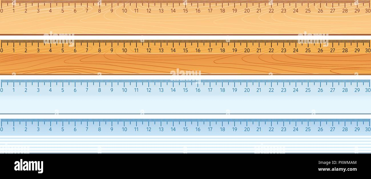 Four designs of rulers illustration - Stock Vector