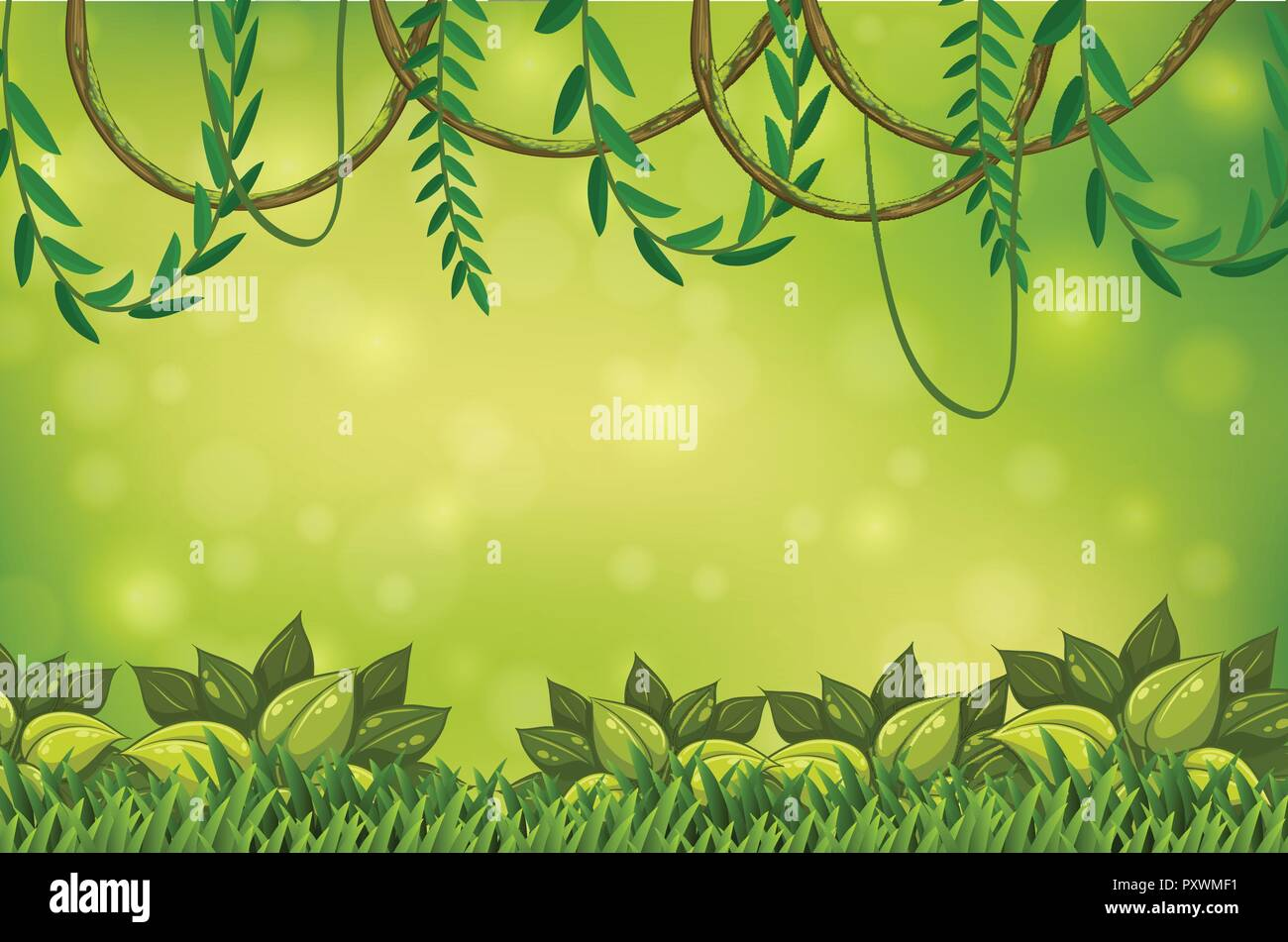 A Green Jungle And Vine Wallpaper Illustration Stock Vector