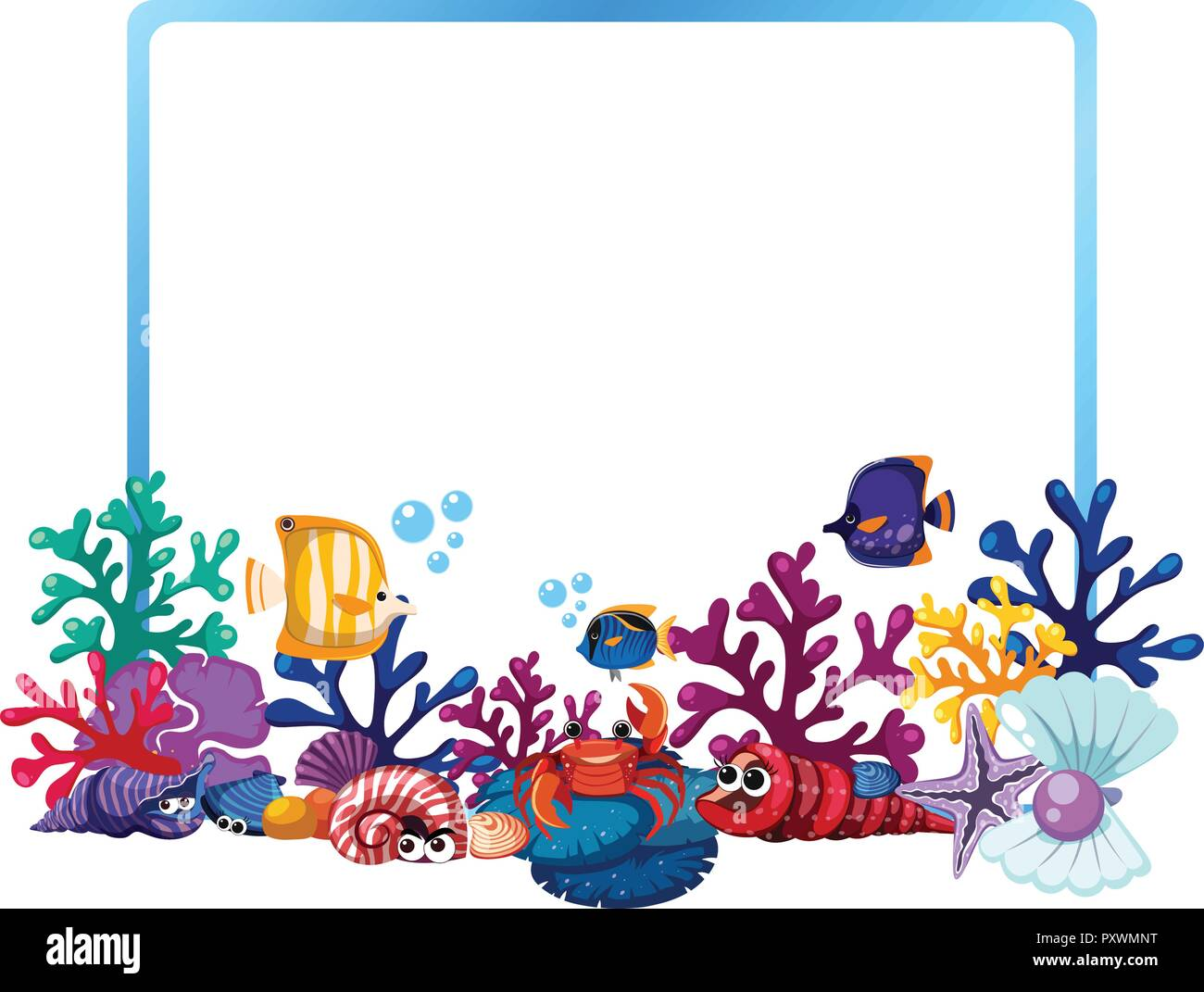 border template with fish and coral reef illustration stock vector