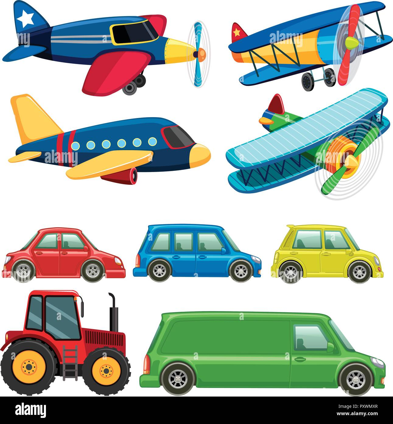 Different Types Of Vehicles On White Background Illustration Stock Vector Image Art Alamy