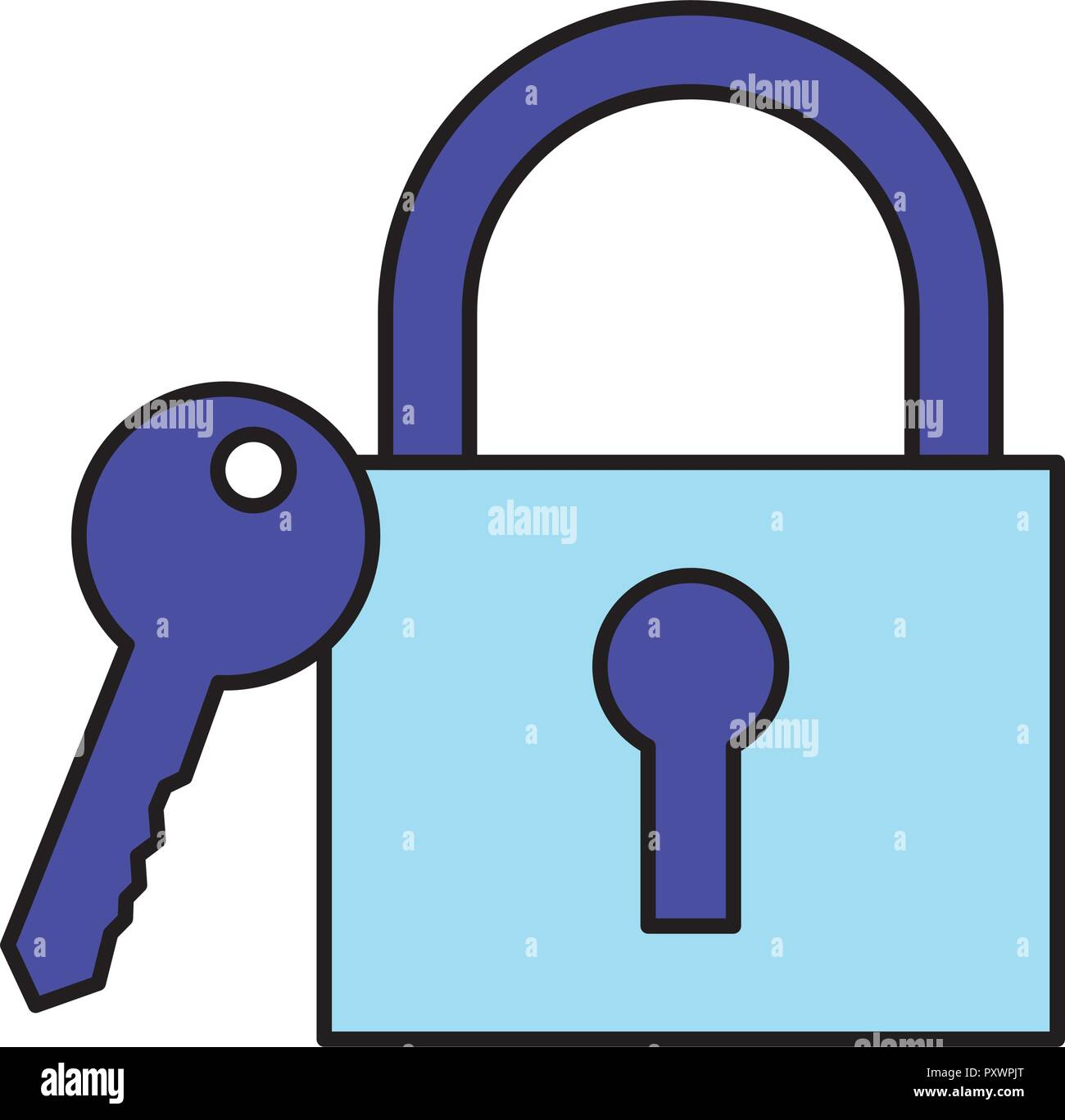 security padlock and key on white background vector illustration - Stock Vector