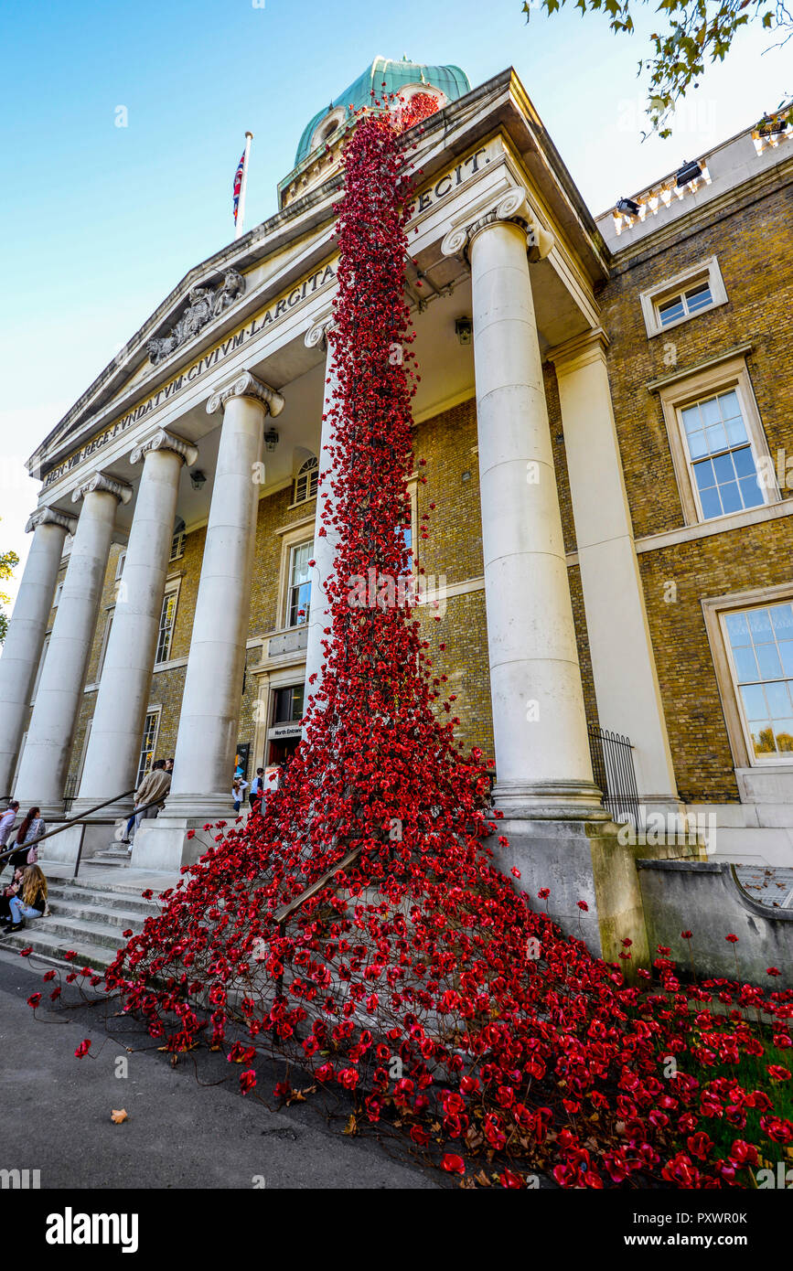 Weeping Window Poppies art installation at Imperial War Museum Lambeth, London, UK. Great War Remembrance centenary memorial 14-18 now - Stock Image