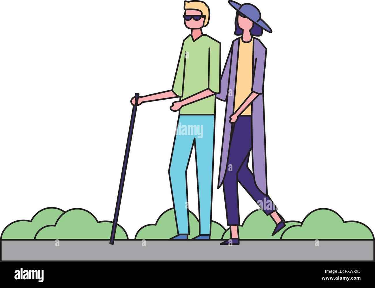 volunteers help woman carry blind person in the street vector illustration - Stock Vector