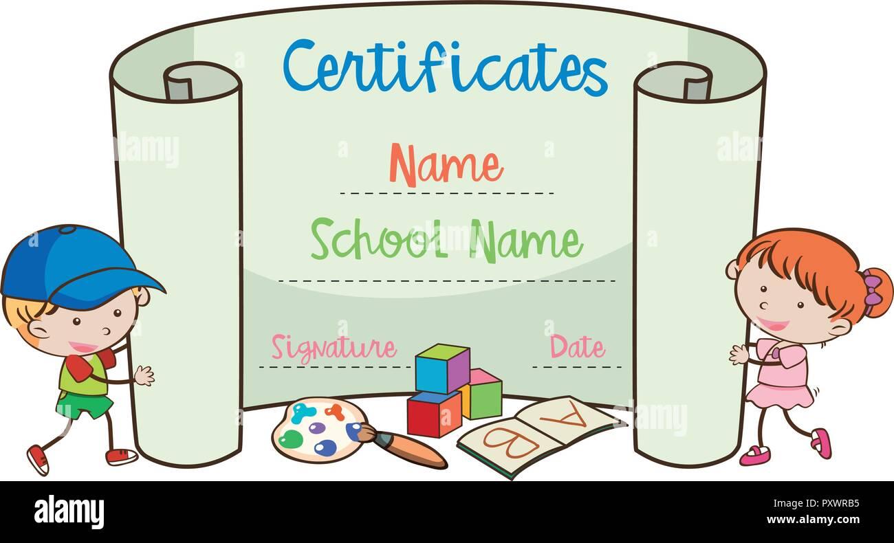 School Art Certificate Template With Doodle Kids Illustration Stock