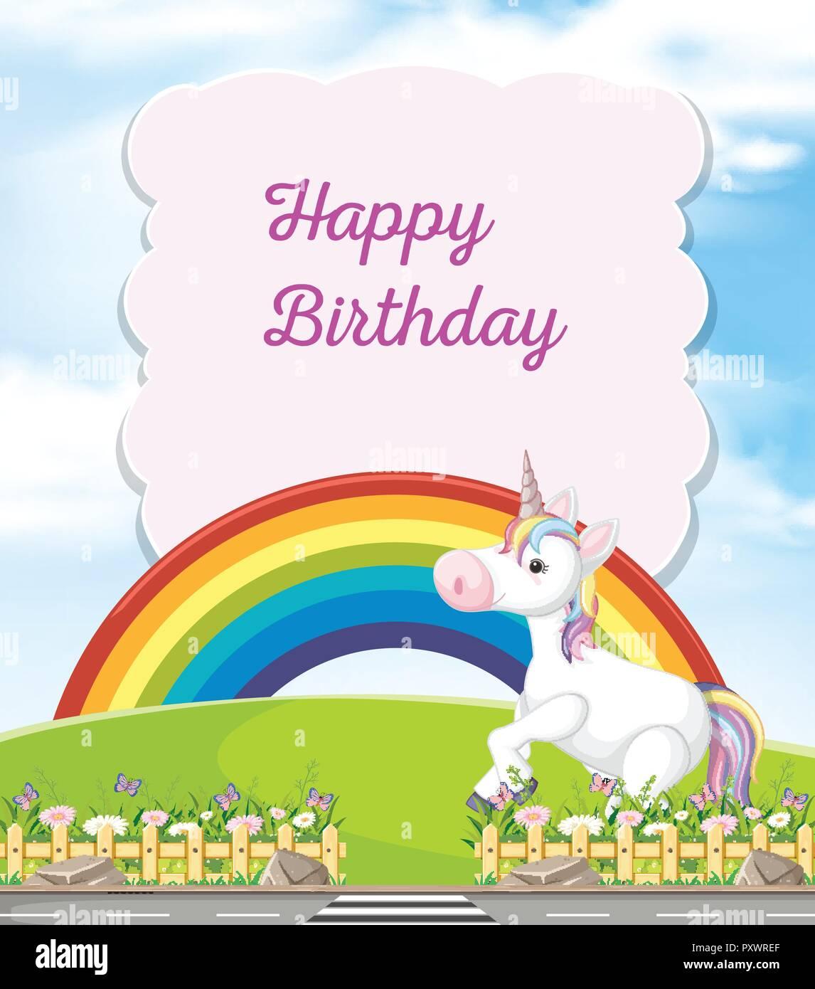 Happy Birthday Card with Unicorn illustration Stock Vector