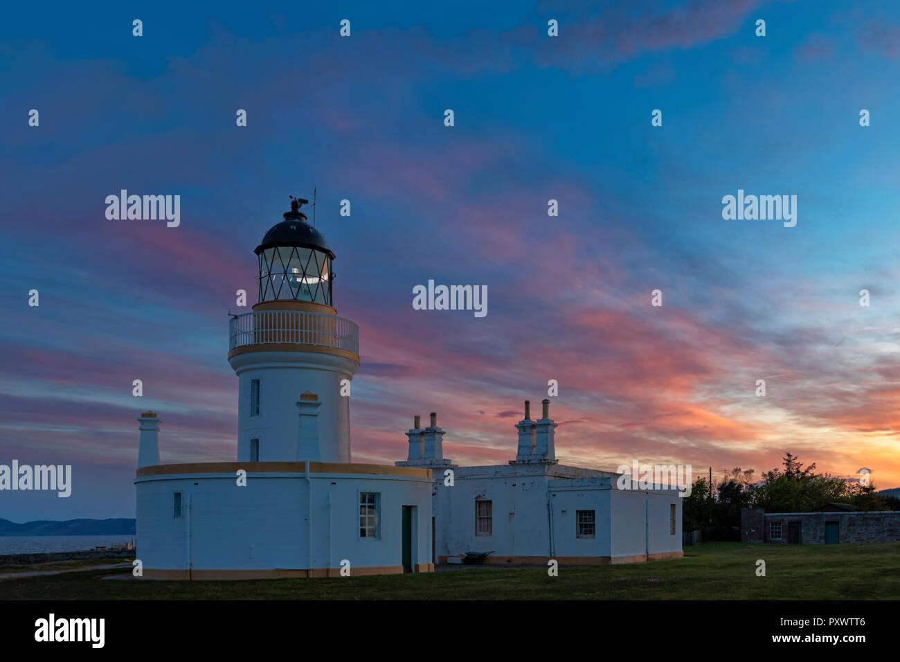 UK, Scotland, Black Isle, Chanonry Ness, Chanonry Point, Chanonry Lighthouse at sunset - Stock Image