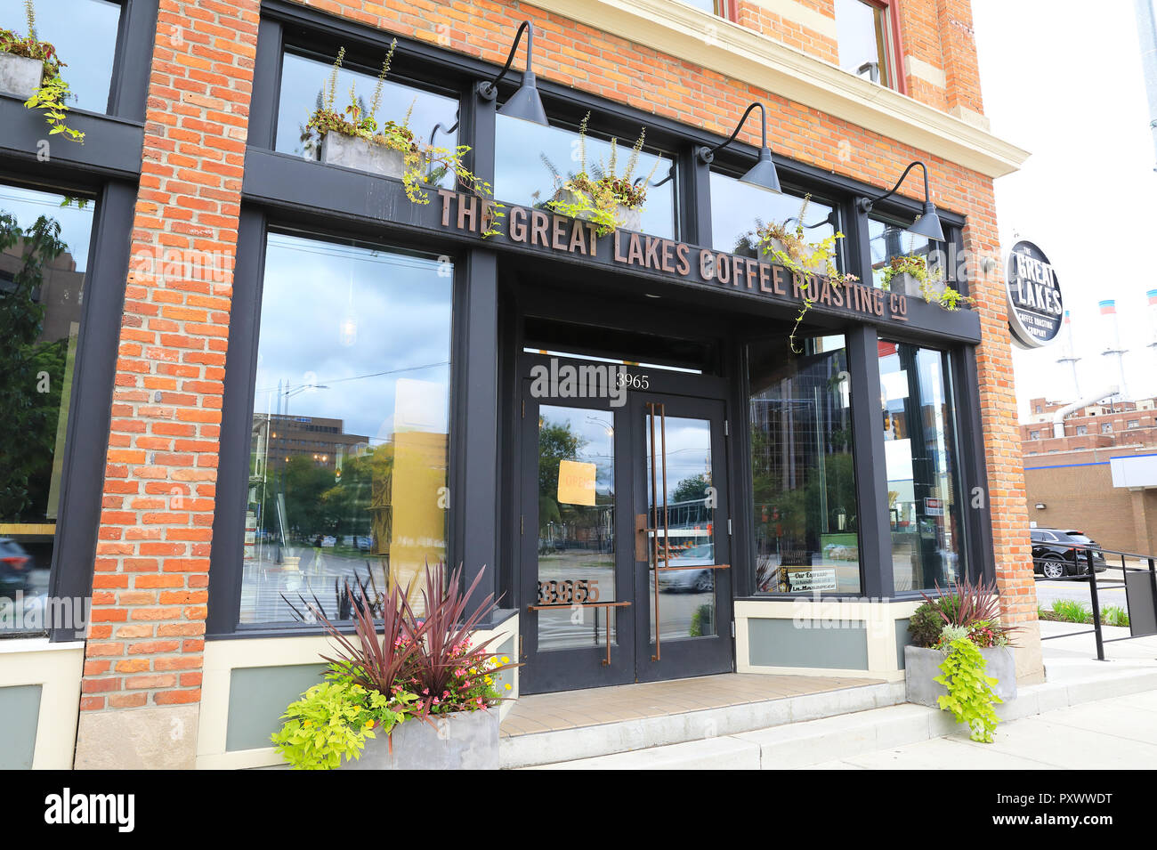 The Great Lakes Coffee Roasting Company on Woodward Avenue, in Michigan, in the USA - Stock Image