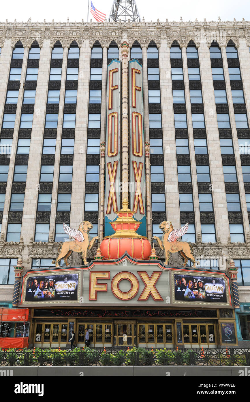Detroit's iconic and historic Fox Theatre on Woodward Avenue, which serves as the city's premier venue for performances, in Michigan, USA Stock Photo