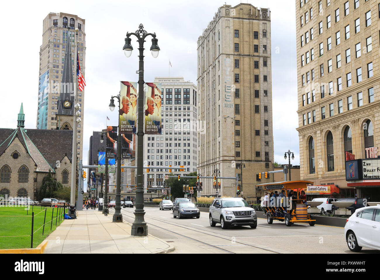 Revitalised Woodward Avenue in Downtown Detroit, in Michigan, USA - Stock Image