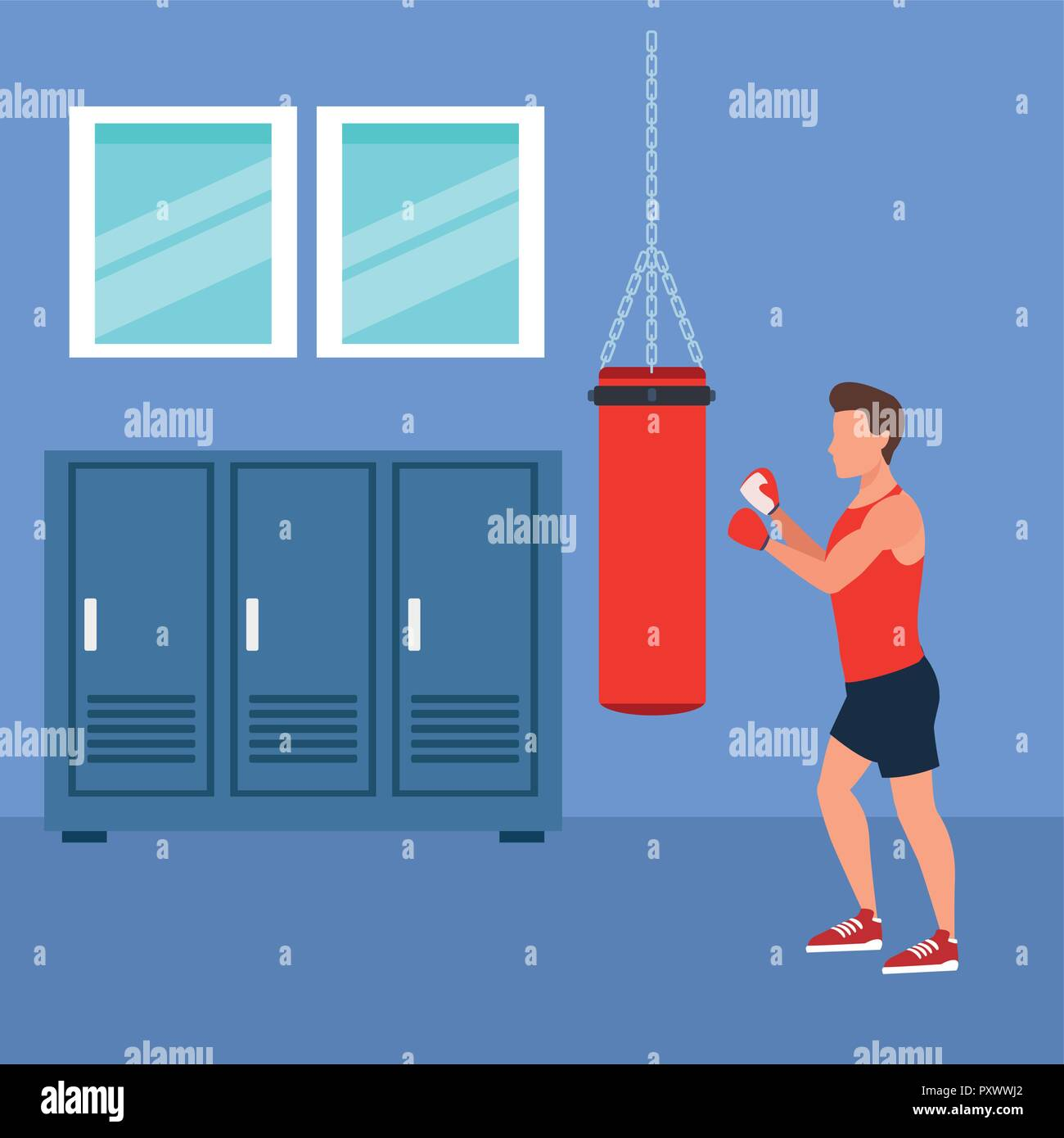 fitness man boxing - Stock Vector