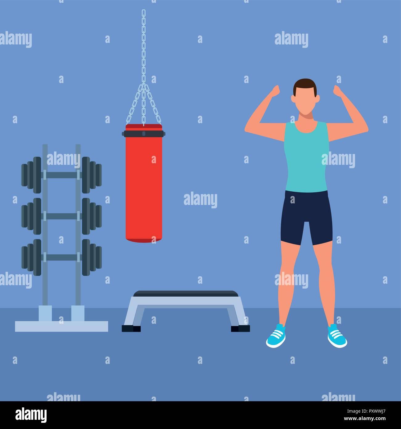 fitness man doing exercise - Stock Vector
