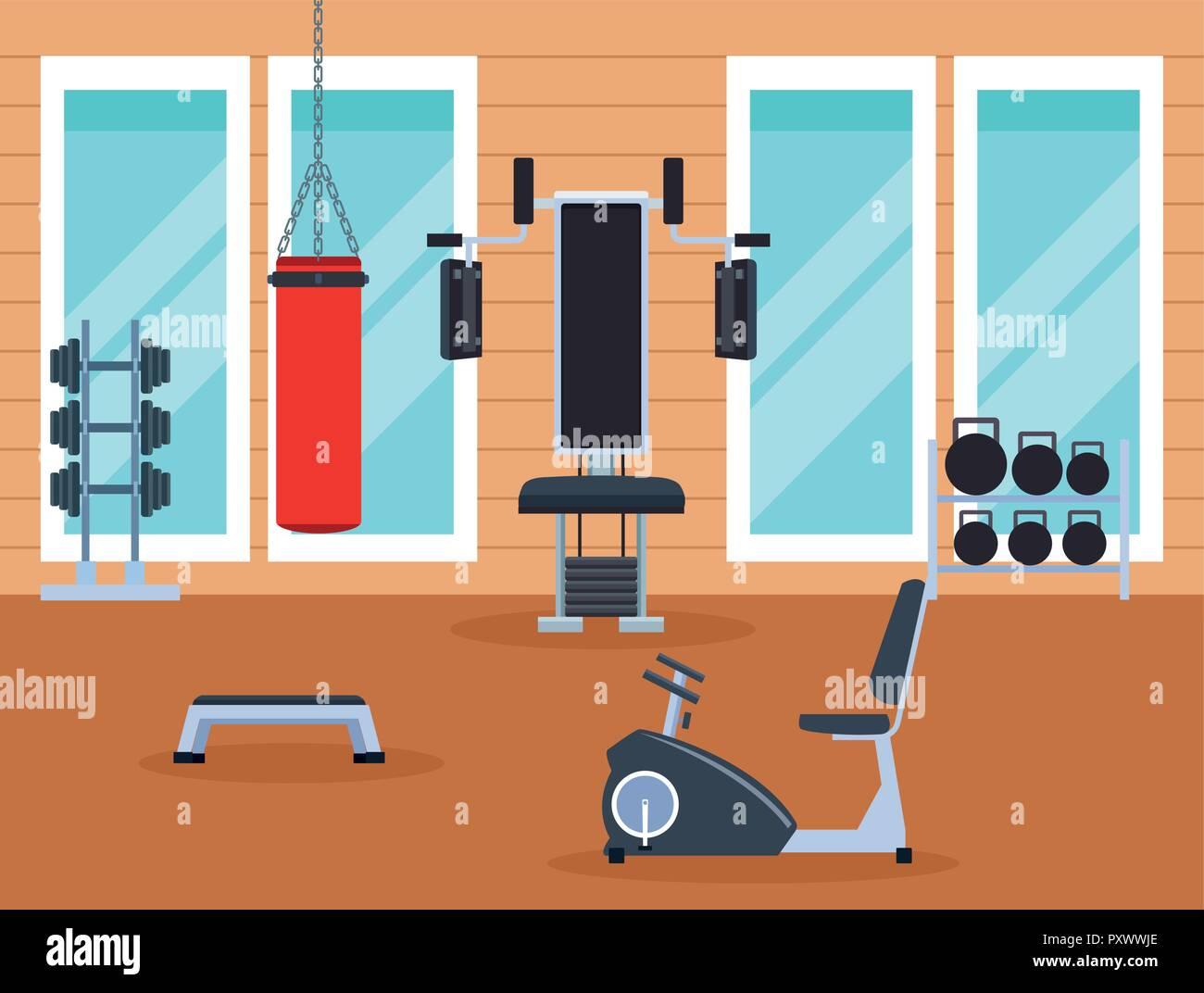 exercise machines cartoons - Stock Vector