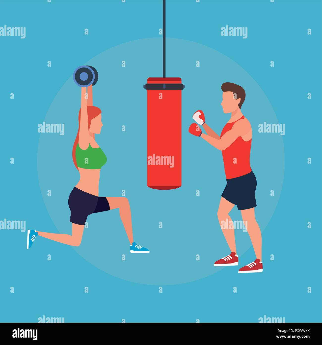 fitness couple doing exercise - Stock Vector