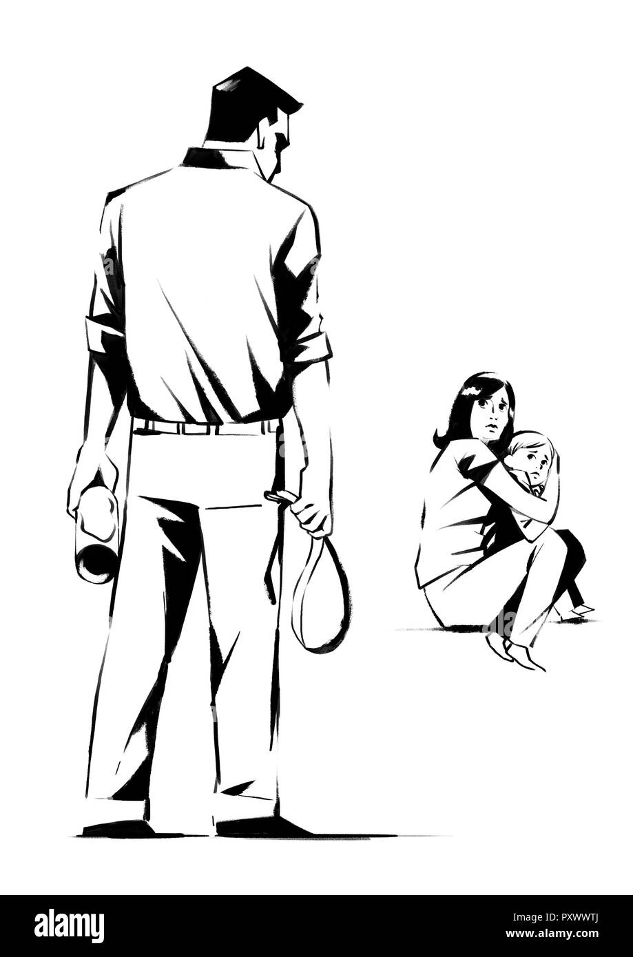Vector - illustration of different domestic violence situations in this  society. Hand drawn black on white background. 001