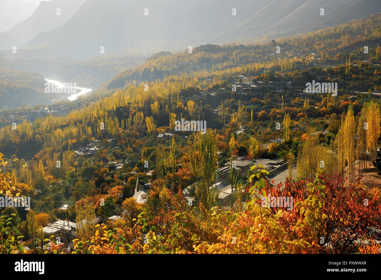 Autumn scene of Hunza valley in the morning. Gilgit-Baltistan, Pakistan. - Stock Image