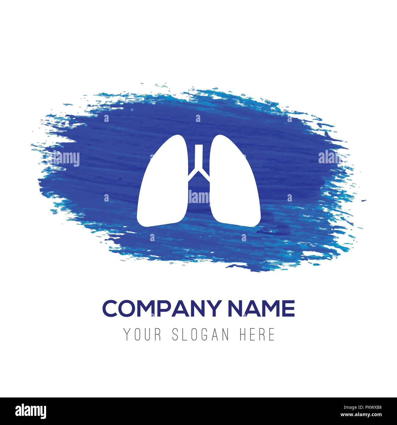 lungs, icon, - Blue watercolor background - Stock Vector