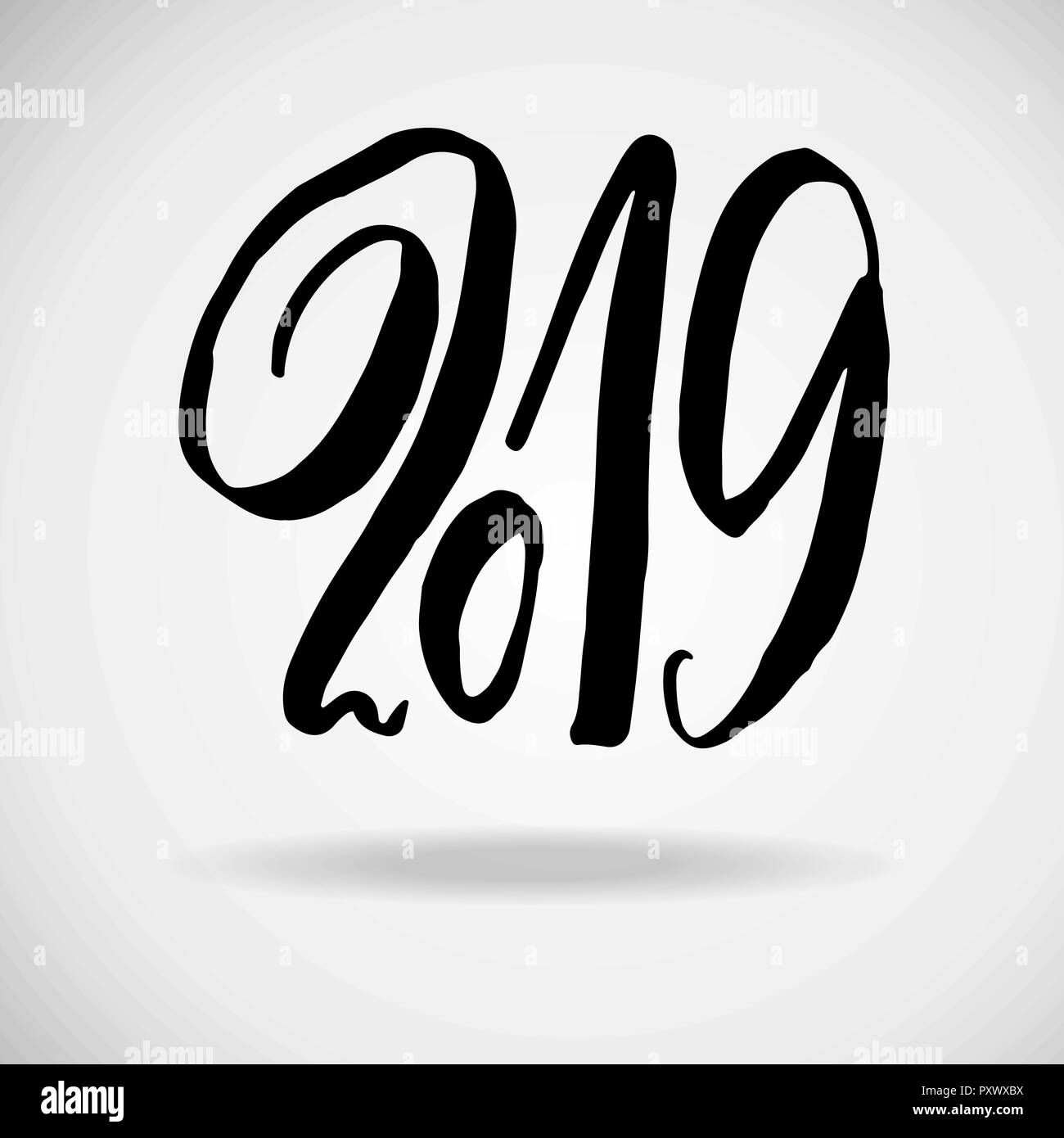 modern dry brush lettering grunge happy new year card design vector illustration