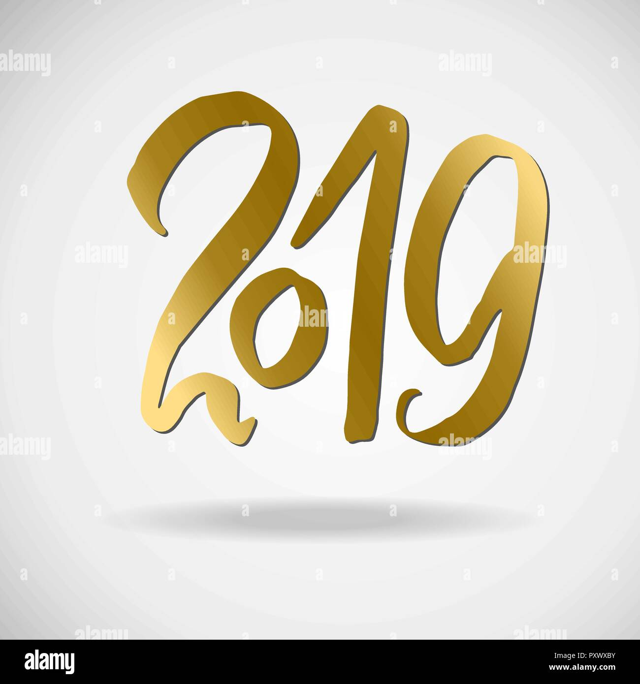 modern brush gold lettering grunge happy new year card design vector illustration