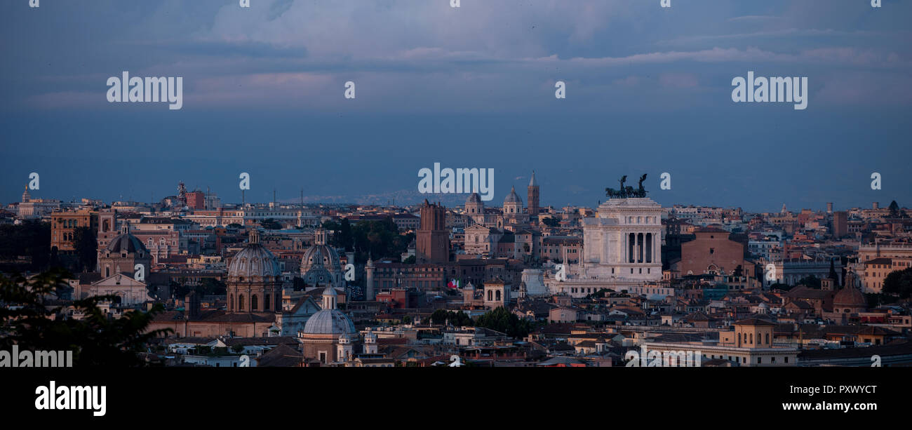 The View From The Gianicolo Hill In Rome At Dusk Showing The