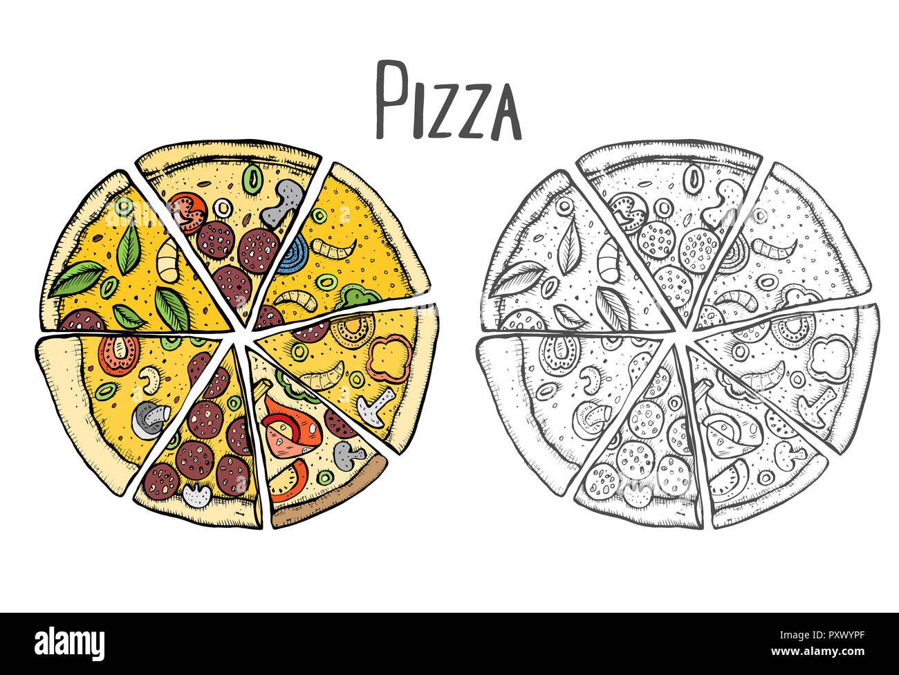 colored italian pizza hand drawn illustration pizza slices in a