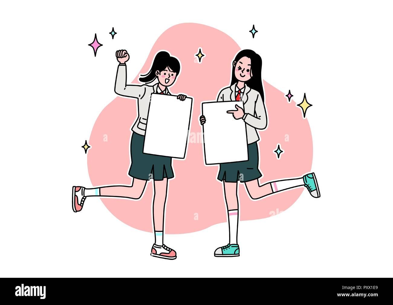 School Life Cartoon Teenagers Middle And High School Students Vector Illustration 009 Stock Vector Image Art Alamy