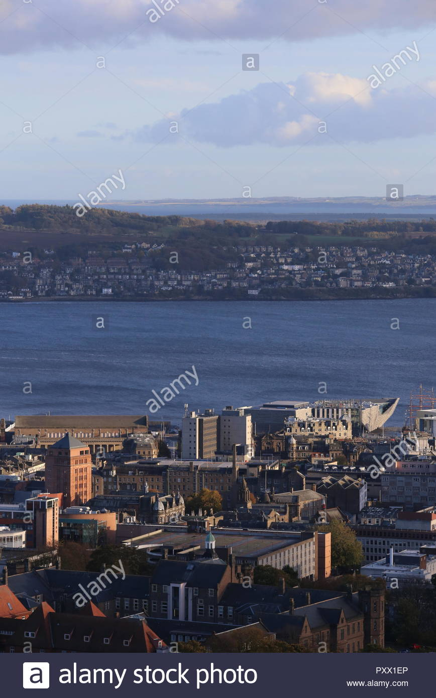 Elevated view of Discovery Point from Dundee Law Scotland  October 2018 - Stock Image