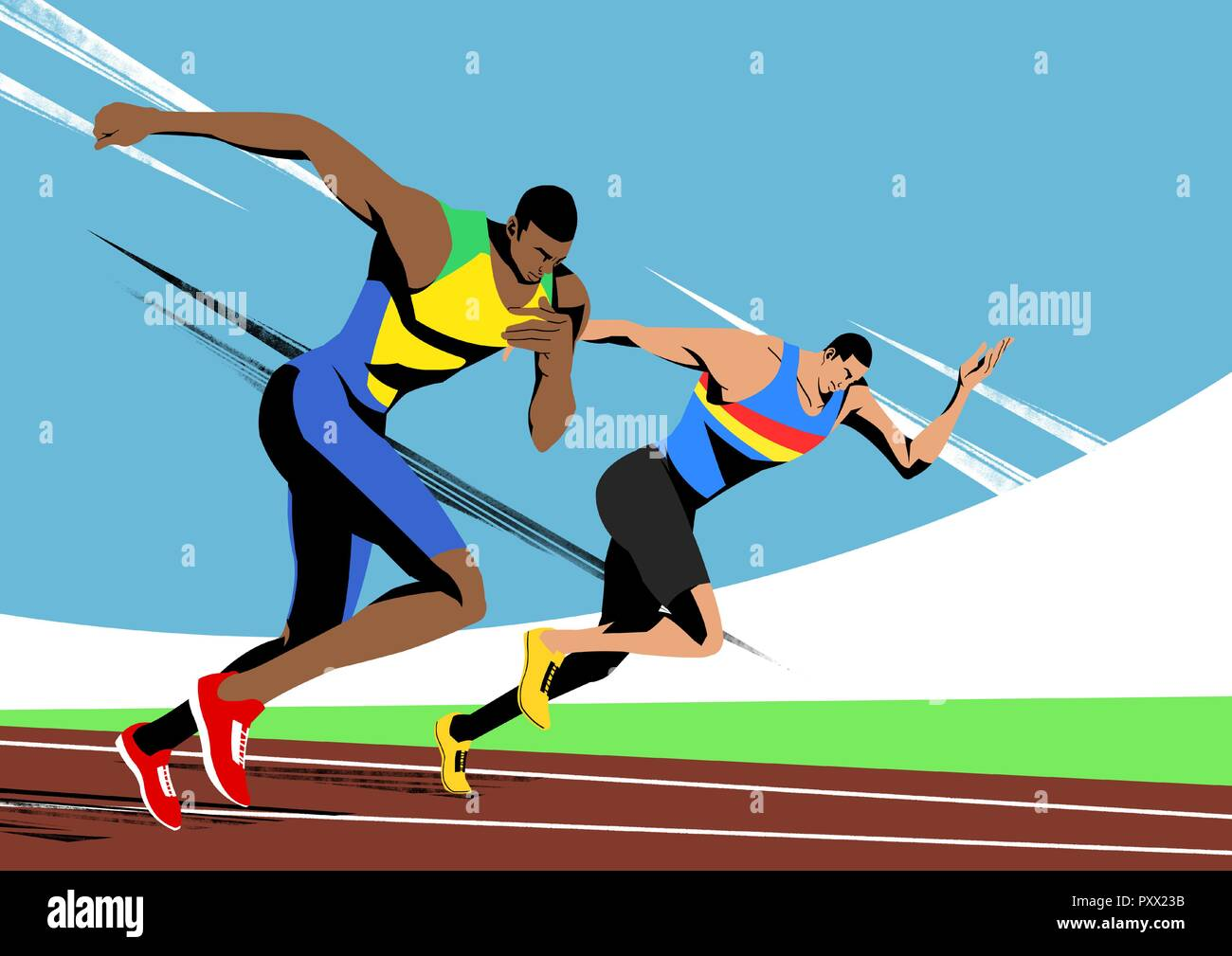Various sports players with dynamic colorful scratched vector illustration 010 Stock Vector