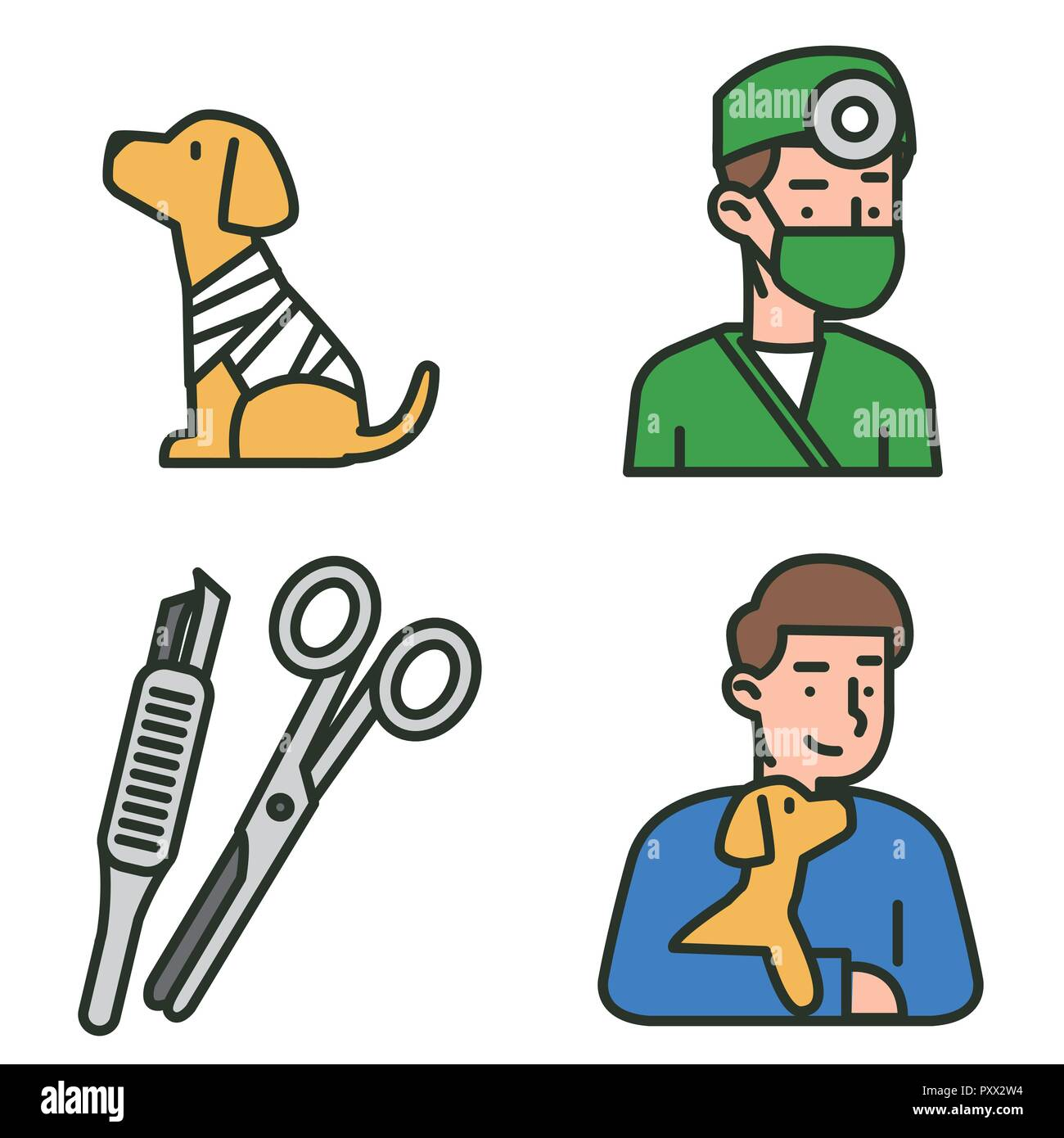 Flat veterinary icons set. use for web and mobile UI, set of basic veterinary elements isolated vector illustration 005 Stock Vector
