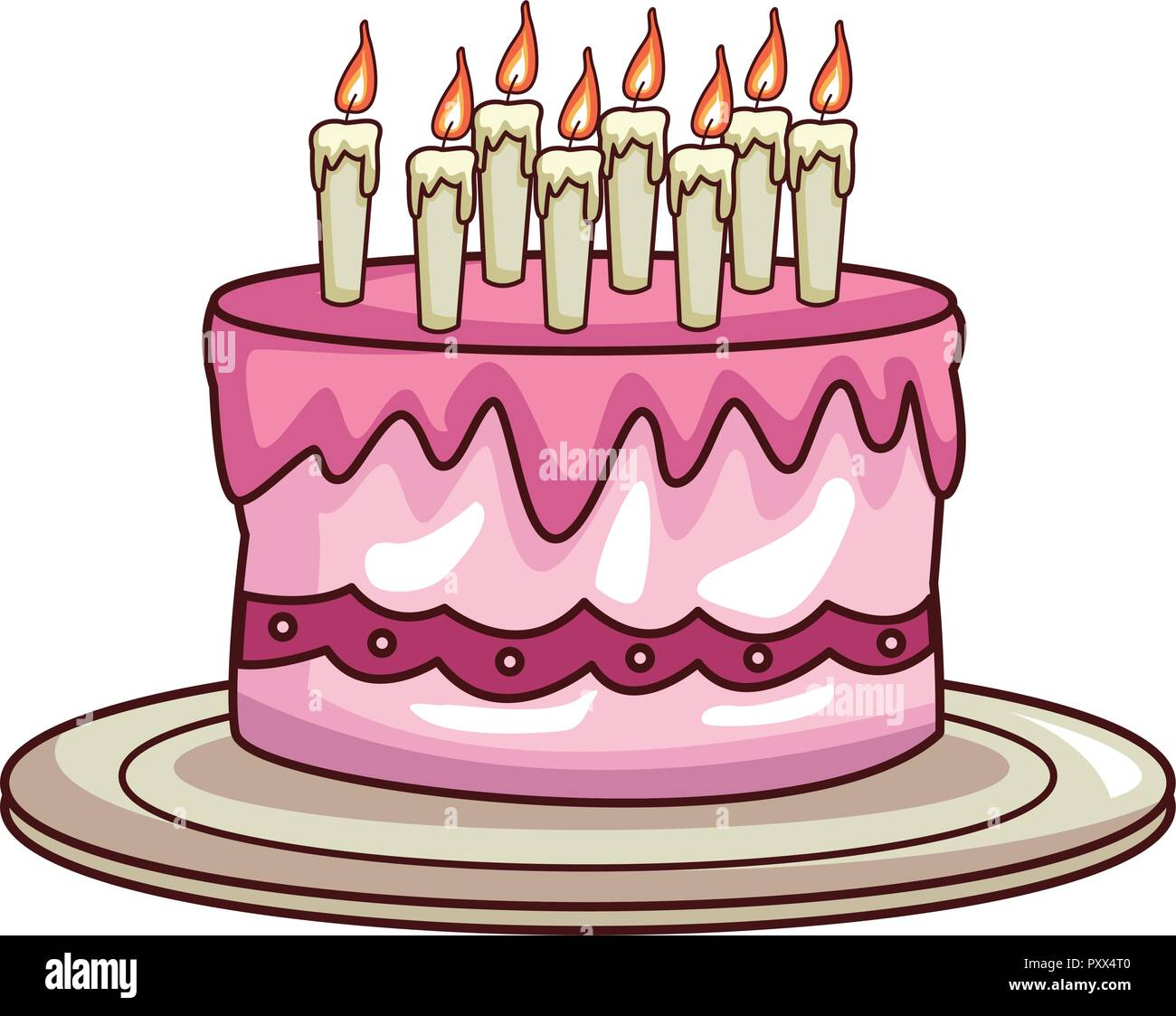 Birthday Cake Cartoon Stock Vector Image Art Alamy