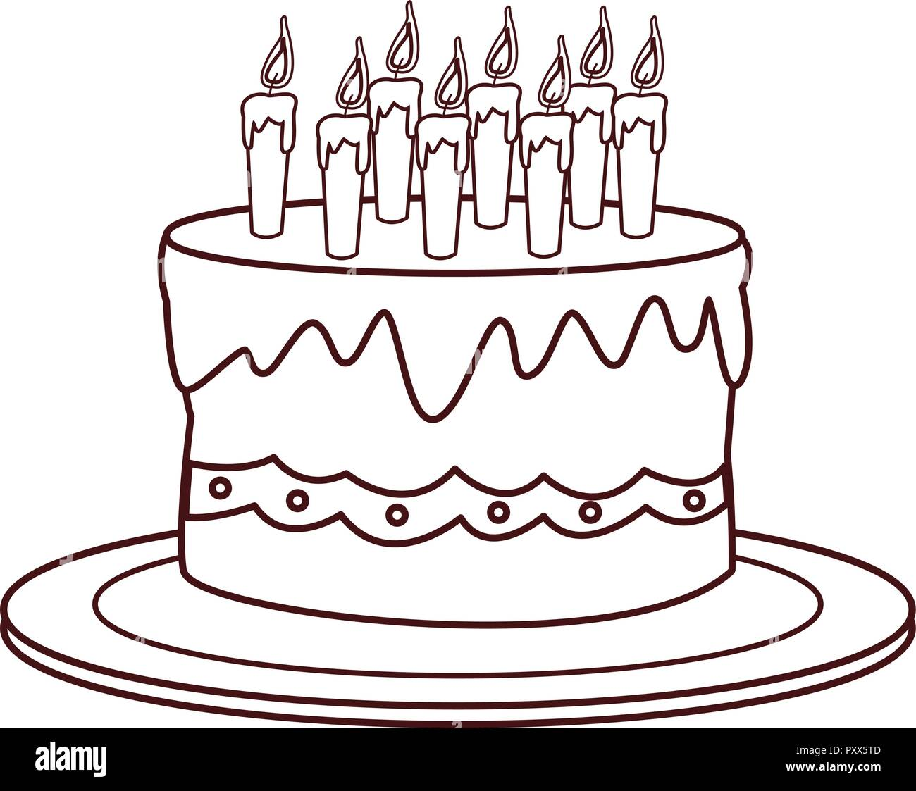 Awesome Birthday Cake Cartoon Stock Vector Art Illustration Vector Funny Birthday Cards Online Elaedamsfinfo