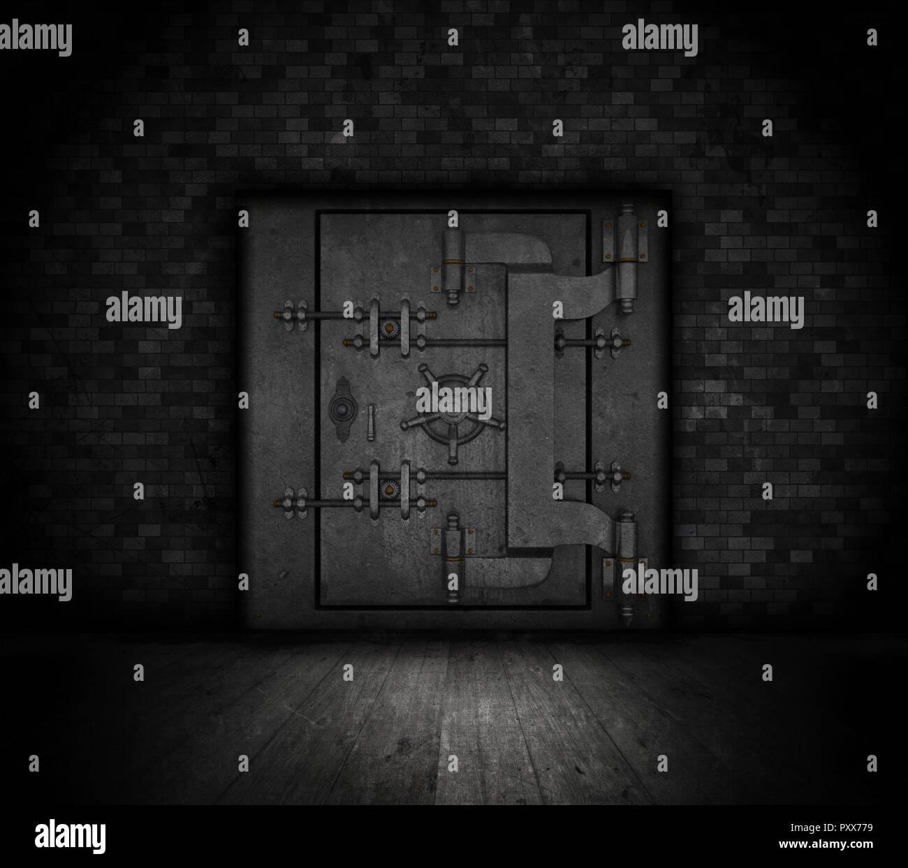 Grunge style bank vault door in a dark interior - Stock Image