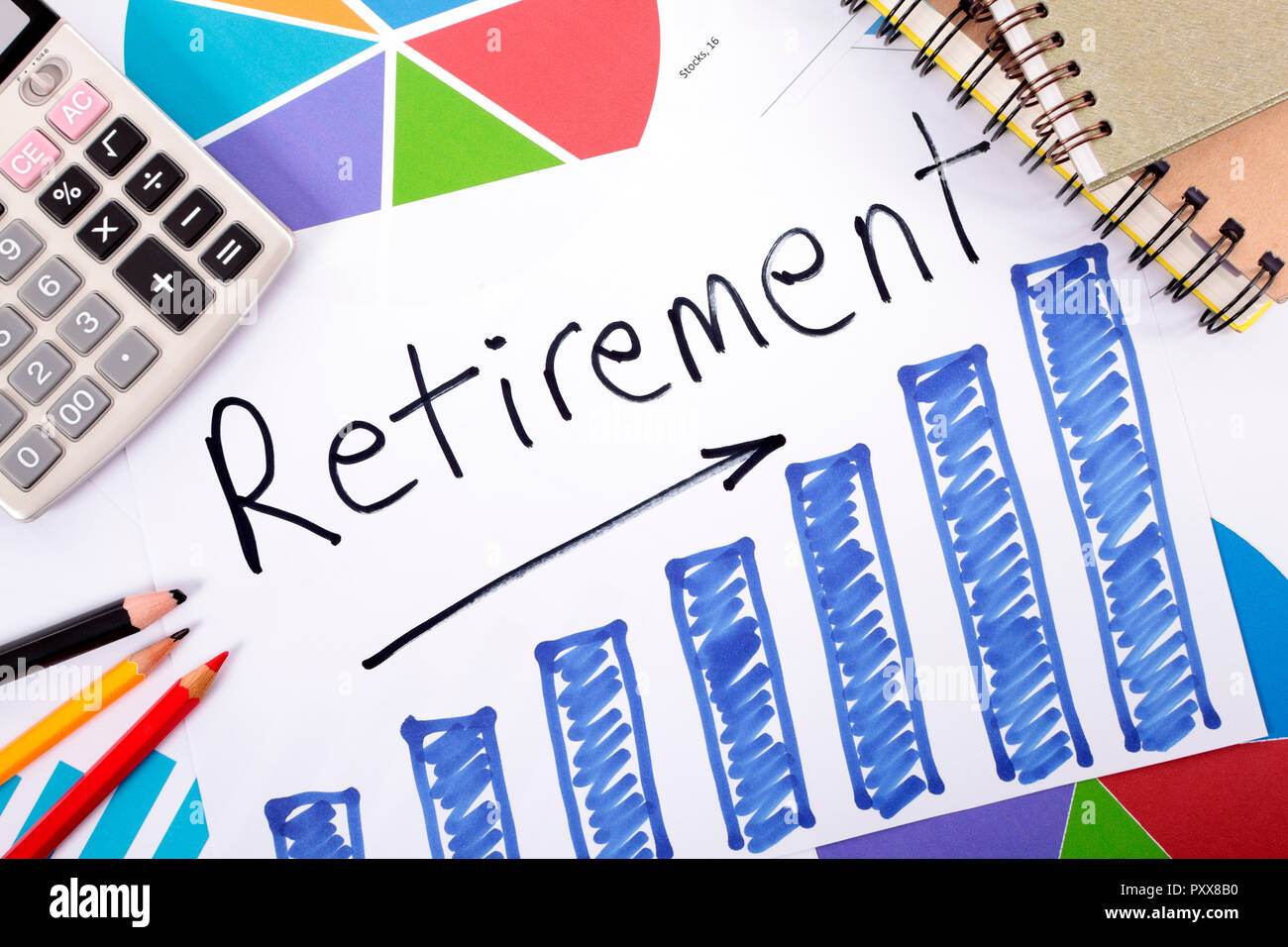 the word retirement written on a hand drawn bar chart surrounded by