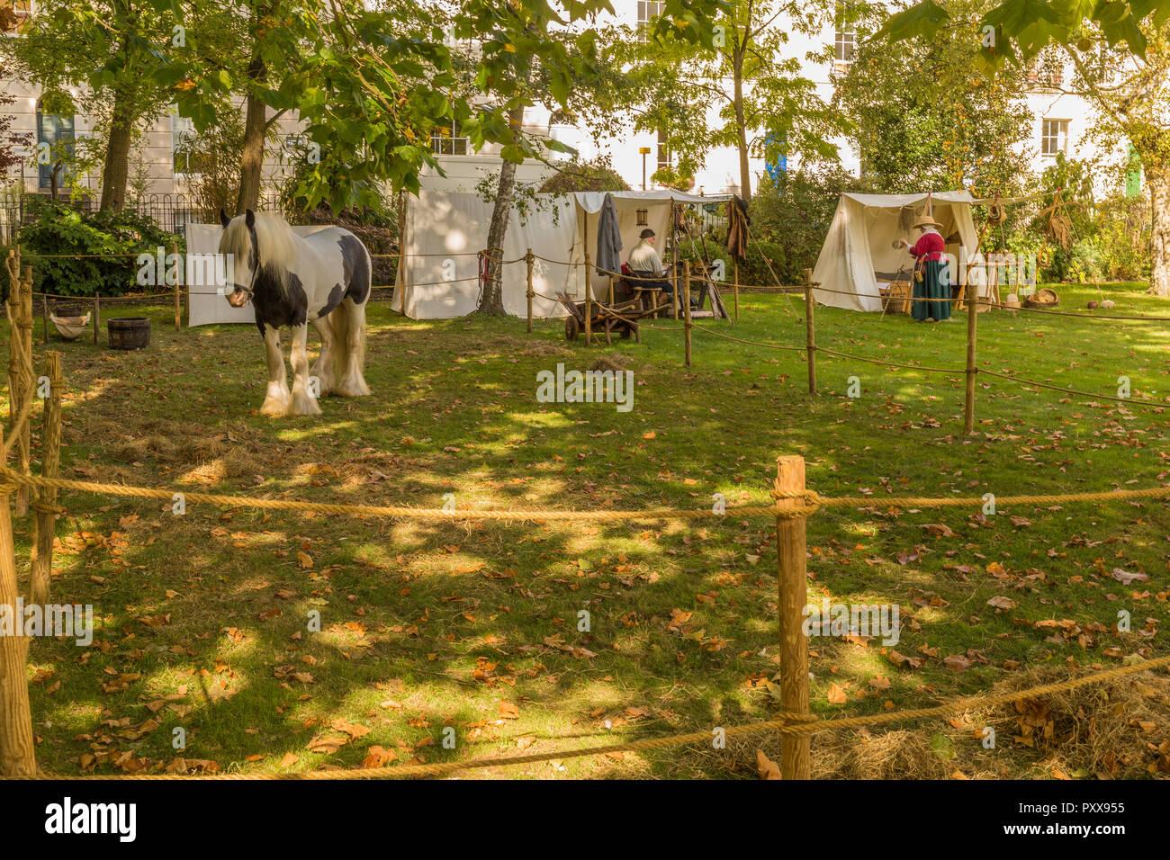 Reenactment Of English Civil War Camp Site In Brunswick Square Gloucester