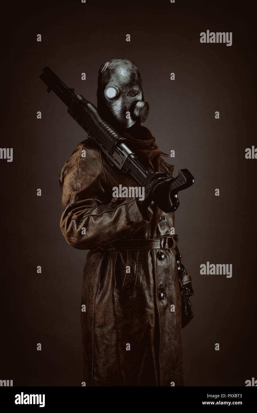 Portrait of a post apocalyptic warrior - Stock Image