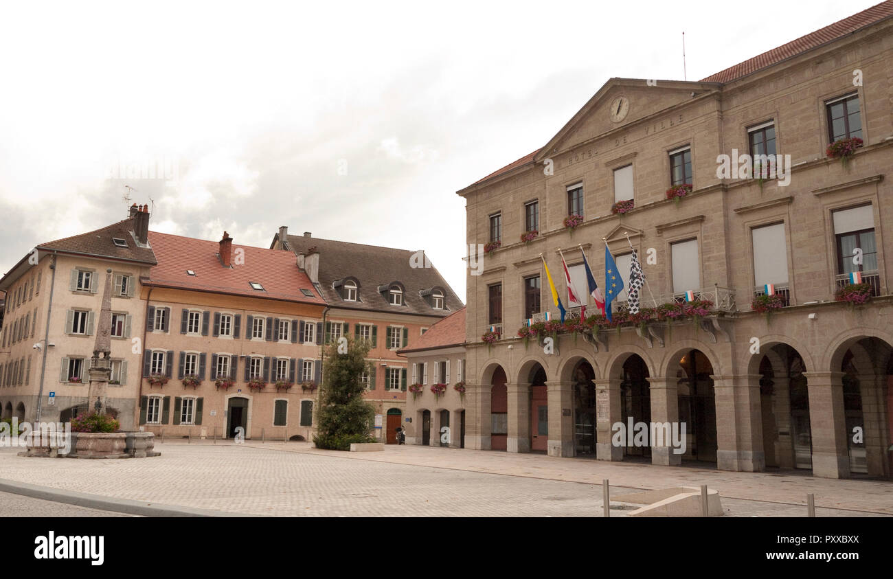 Hotel de Ville or Town hall at Thonon-les-Bains in the Haute-Savoie department of France on the shores of Lake Geneva - Stock Image