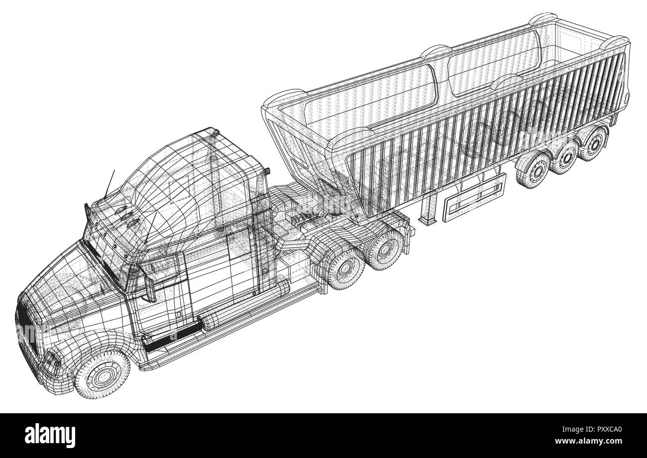 commercial delivery cargo truck vector for brand identity and advertising isolated created illustration of 3d wire frame PXXCA0 commercial delivery cargo truck vector for brand identity and