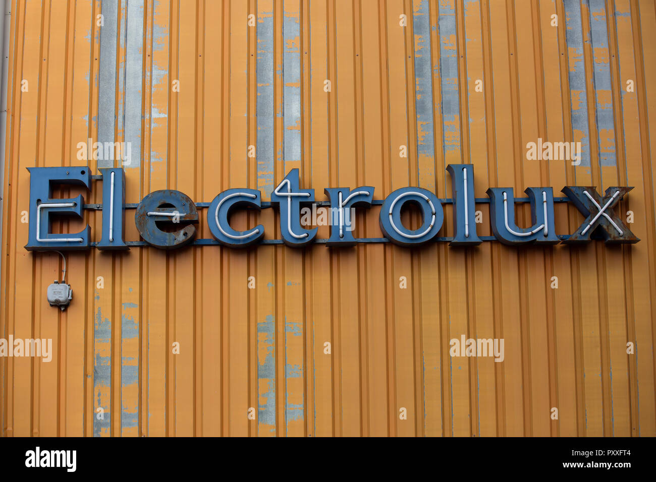 Electrolux, sign in Lapland in northern Sweden of Swedish multinational household appliance manufacturer, headquartered in Stockholm, Sweden - Stock Image