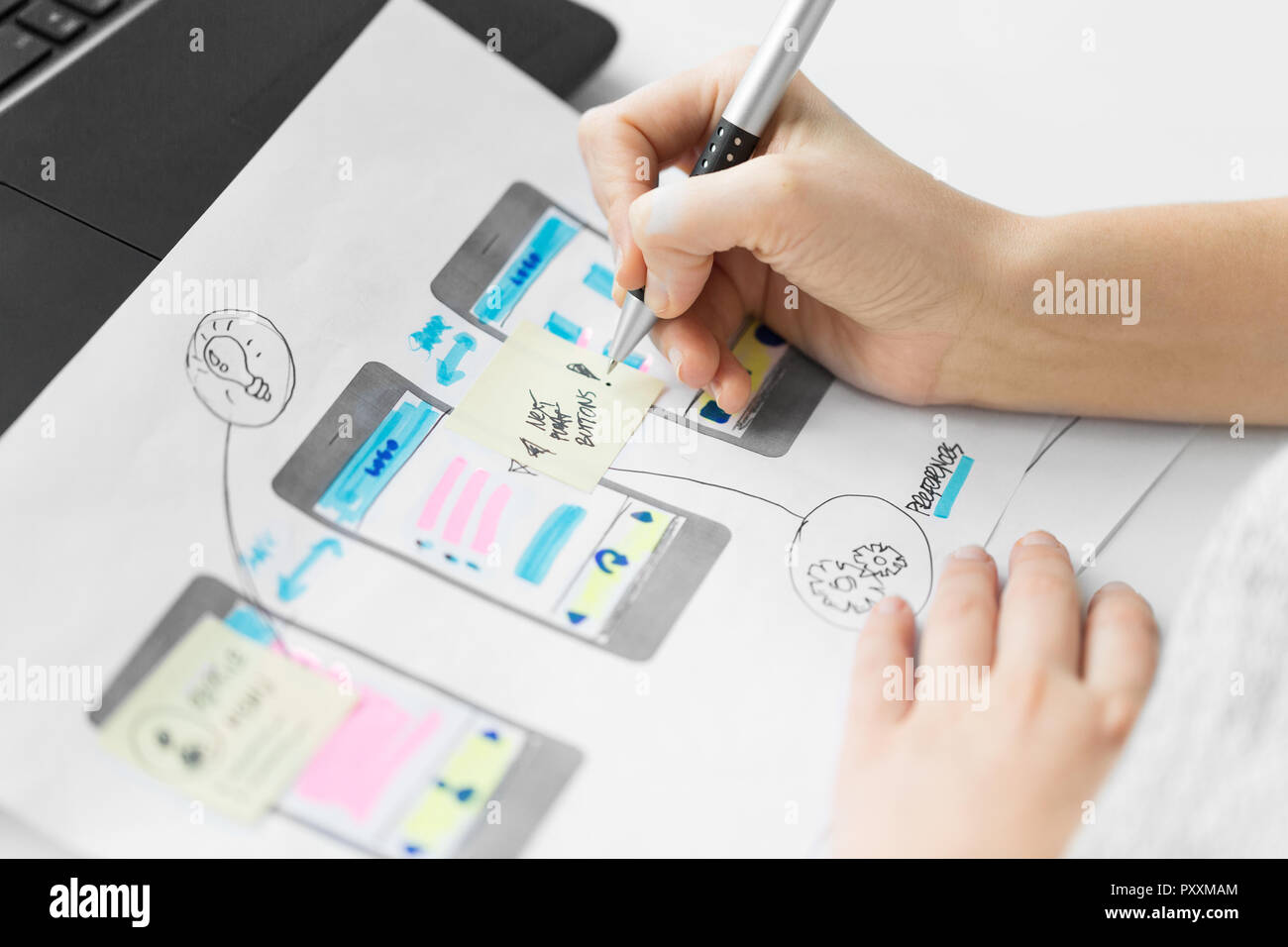web designer working on user interface wireframe Stock Photo