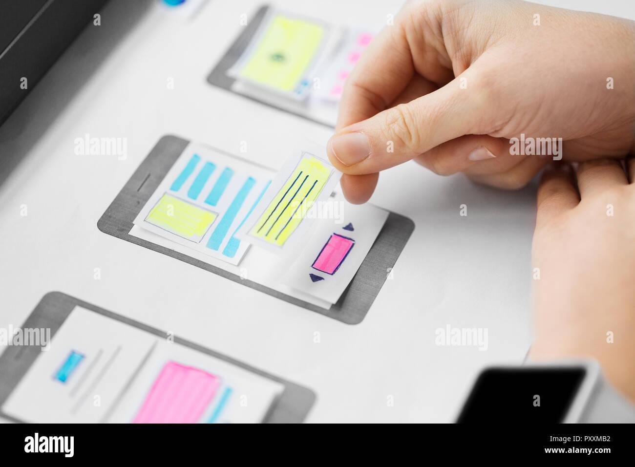 web designer working on user interface wireframe - Stock Image