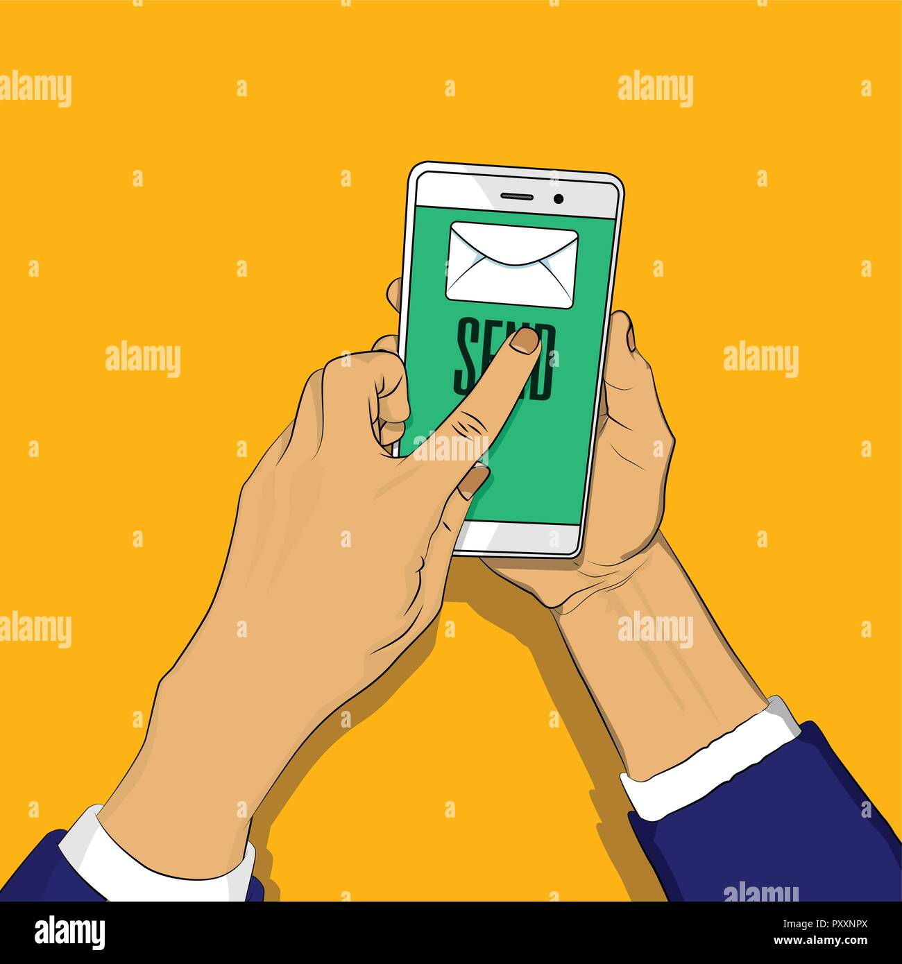 Hand holding phone with letter and send button on the screen, a finger touches the send button. Vector illustrated retro comic book cartoon for advert - Stock Image