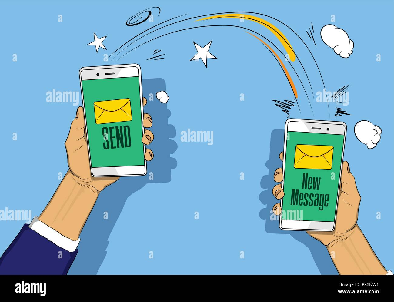 Hands holding phones with letter, send and new message button on the screen. Vector illustrated retro comic book cartoon for advertisement, web sites, - Stock Image