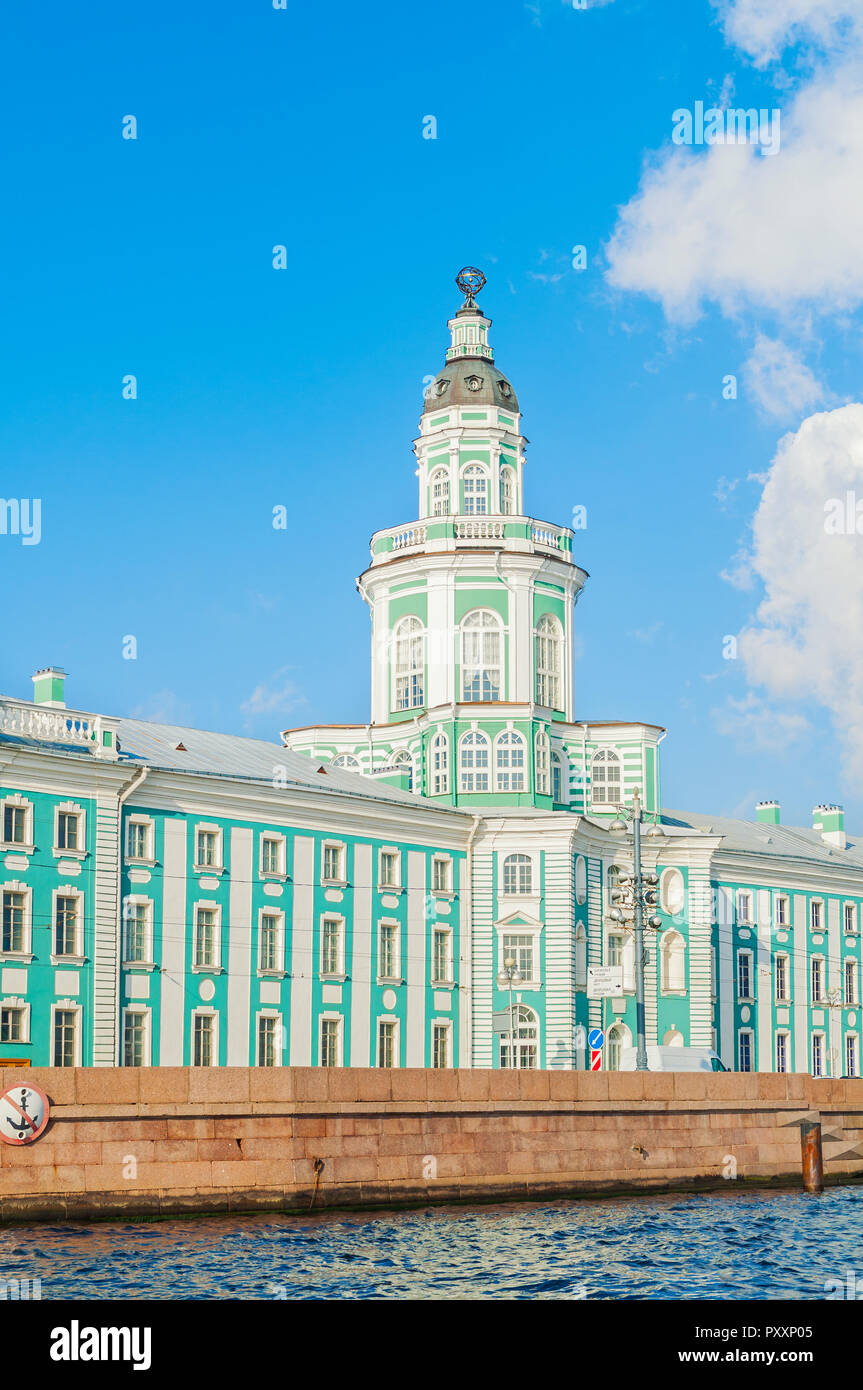 St Petersburg, Russia - Kunstkamera building at the University quay near the Neva river in St Petersburg, Russia - Stock Image